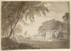 Scene near Faiz 'Ali Khan's Garden, Ghazipur (U.P.), possibly entrance towers and enclosing wall. 30 November 1788.